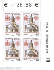 2010//BLOC DE 4 TIMBRES//COIN DATE**BASILIQUE D'ORCIVAL**STAMP.Y/T N°4446
