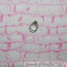 BonEful Fabric FQ Cotton Quilt White Pink Baby Girl Nursery Shower S Ruffle Lace