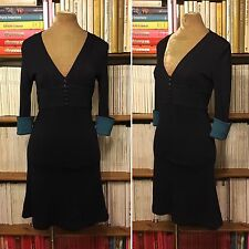 JENNY DYER navy wool fitted A-line dress UK 8 US 4 office formal