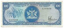 Trinidad & Tobago Banknote 100 Dollars 1964 P-35a  Rare Old Paper Money Bargain