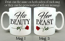 His Beauty Her Beast Matching Mugs - Wedding Valentine Gift Coffee Tea Cup 10oz.