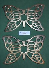 "2 Vintage LEONARD OF Italy SILVER PLATED SILVERPLATE Footed 10"" BUTTERFLY TRIVET"