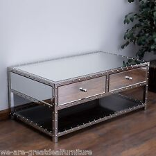 Living Room Furniture Mirrored Finish Studded Accent 2-Drawer Coffee Table