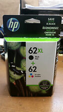 HP new, genuine, OEM 62XL black / tri-color ink cartridges EXP 2018- FAST ship