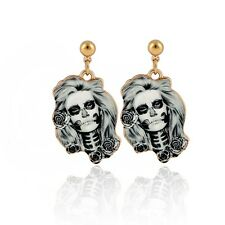 Punk Style Skeleton Head Ear Stud Grey Skull Flower Earring Cool Jewelry New
