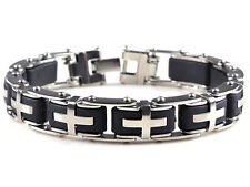 New Stainless steel mens Silver Bangle Chain Link Cool Cross Bracelet Gift