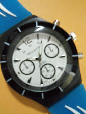 VELLACCIO MEN'S WATCH BLUE & WHITE SILICON WATCH DESIGNER STYLE WHITE DIAL.