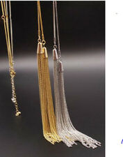 """NEW CLASSY SILVER Haute Couture Long BEAD """"Y"""" KNOT DOUBLE TASSEL LARIAT NECKLACE"""