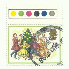 UK stamp 1978 Christmas 7p traffic light. used, off paper.