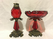 Vintage L&L WMC 1973 Lighter and Ashtray on Red Glass.
