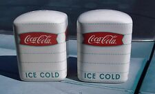 """Coca-Cola Salt and Pepper Shakers by Gibson Ceramic 3"""" High Pair Ice Cold White"""