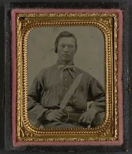 Photo Civil War Confederate In Uniform With D Guard Bowie Knife
