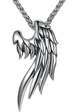 """Men Women Stainless Steel Angel Wing Pendant Necklace Unisex 24"""" Link Chain Gift"""