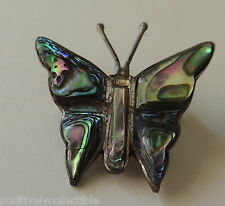 Vintage Mexico Sterling Silver Abalone Inlaid Small Butterfly Brooch Pin 1""