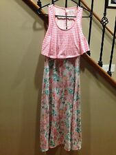 Dress Girls size XL 14  Peach / Pink Flower Long Dress Easter Dress Girl's