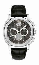 Bulova Men's 96B218 Chronograph Date Display Black Dial Black Leather Band Watch
