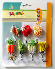 7X SELF ADHESIVE STICKY CUTE VEGETABLES HOOKS KITCHEN POTS TOWEL UTENSILS HOLDER