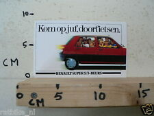 STICKER,DECAL RENAULT SUPER 5 5 DEURS CAR AUTO KOM OP JUF DOORFIETSEN