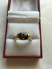 David Yurman 18K Gold Pave Diamond Green Tourmaline Ring Size 6