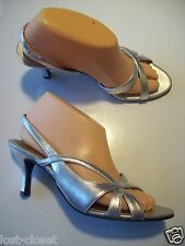 Naturalizer Prissy Silver Leather Slingback Sandals Heels Shoes Size 7.5 @cLOSeT