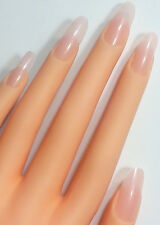 20pc Sheer Baby Pink False Pointy Nails Stiletto Glue On Art Fake Long Full USA