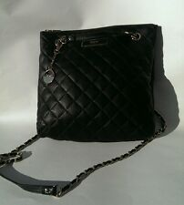 DKNY Nappa Quilted Black Leather Long Gold Chain Authentic Casual Shoulder Bag