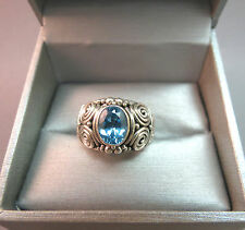 Suarti BA Indonesia Sterling Silver Ring Blue Topaz Stone Size 7 Scrolls 7.65g