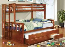 University Oak Twin over Queen Size Bunk Bed Trundle & Drawers Kids Furniture
