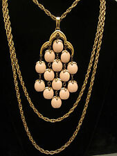 """Rare Vtg 16"""" Crown Trifari Gold Tone Pink Lucite Bead Waterfall Necklace A40"""