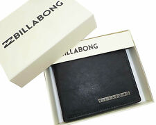 "BRAND NEW IN GIFT BOX BILLABONG ""EMPIRE"" MENS BLACK LEATHER TRI-FOLD WALLET"