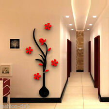 1 Set 3D Vase Removable Flower Tree Crystal Acrylic wall sticker Home Room Decor