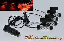4 x 3 New Led Car Charge 12V Glow Interior Decorative Atmosphere Orange Lights