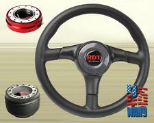 Carbon Type PV Leather Steering Wheel+Red Release+Hub for 84-87 Toyota AE86