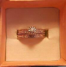Vintage Lovebright 14k White Gold Diamond Engagement Wedding Ring Set 6.75 6 3/4