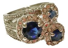 Spring Street Blue Velvet Three Circle Adjustable Ring with Crystals