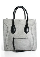 CELINE Light Gray Wool Felt Phantom Top Handle Tote Bag EVHB