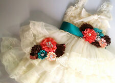 Lace dress sash flower girl dress birthday outfit tea party wedding flower girl