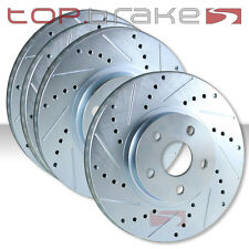 FRONT + REAR SET Performance Cross Drilled Slotted Brake Disc Rotors TBS12349