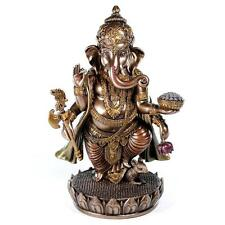 "GANESHA STATUE 7.5"" Standing HIGH QUALITY Bronze Resin Hindu Elephant God Ganesh"