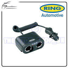 RING 12v TWIN 2 WAY CAR MULTI ADAPTOR SOCKET PLUG WITH BATTERY ANALYSER RMS2