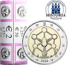 25 x Belgien 2 Euro Münzen 2006 bfr. Atomium in Brüssel in Original Sichtrolle