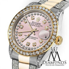 Women's 31mm Rolex Oyster Perpetual Datejus Custom set Diamonds Dial Tone Pink