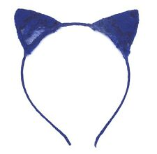BEAUTIFUL NEW CAT EARS ROYAL BLUE LACE HEADBAND HAIR ACCESSORY FAST SHIPPING USA