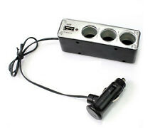 3 WAY DC12/24V MULTI SOCKET CAR CIGARETTE LIGHTER SPLITTER USB PLUG CHARGER UK
