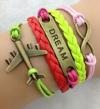 NEW Hot Retro Infinity Aircraft  Dream Leather Charm Bracelet plated Copper W12