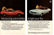 1970 BUICK GS 455 STAGE 1 OPTION & OPEL GT  ~  ORIGINAL 2-PAGE MUSCLE CAR AD