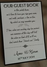 Handmade Personalised Vintage Style Wedding Guest Book Signature Frame Sign