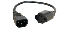 1-FT IEC320 C14 Plug To 3-Prong NEMA 5-15 Outlet Power Adapter Cord