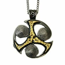 Nordic Lights Triskilian Spiral Pendant Necklace Pewter Gilt Celtic Manx