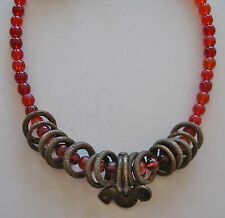 Ethnic Design Necklace/African Bronze Currency Rings, Senufo Pendant/Trade Beads